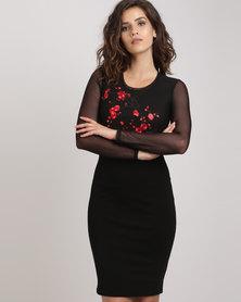 Utopia Bodycon Dress with Embroidery Black