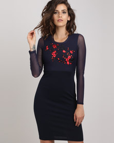 Utopia Bodycon Dress with Embroidery Navy