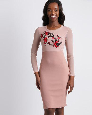 e01754673fa7 Utopia Bodycon Dress with Embroidery Blush Pink