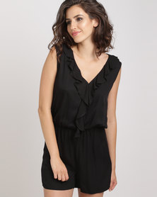 Utopia Viscose Ruffle Playsuit Black