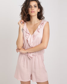 Utopia Viscose Ruffle Playsuit Blush