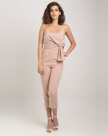 Utopia Boobtube Jumpsuit With Tie Detail Blush