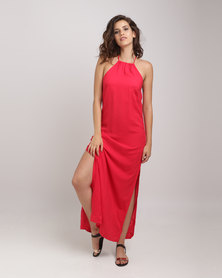Utopia Viscose Halter Maxi Dress With Open Back Red