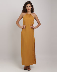 Utopia Viscose Halter Maxi Dress With Open Back Mustard