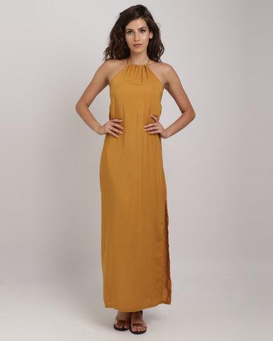 42cf5462d79e2 Utopia Viscose Halter Maxi Dress With Open Back Mustard