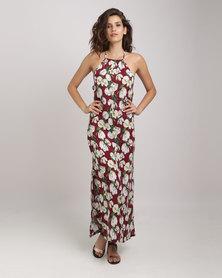 Utopia Maxi Dress With Slit Floral Print Burgundy