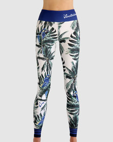 Vivolicious Tropics Performance Leggings Blue Green White