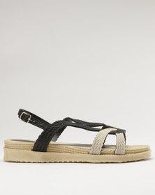 Q Surf Flat Sandal Black/Beige