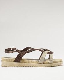 Q Surf Flat Sandal Brown/Nude