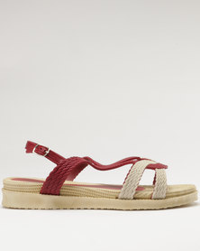 Q Surf Flat Sandal Red/Beige