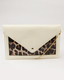 Utopia Leopard Envelope Clutch Cream