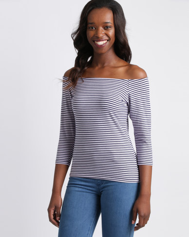 Utopia Off The Shoulder Tee Stripe Navy And White
