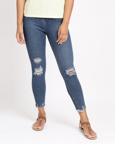 New Look Ripped Skinny Hallie Jeans Blue