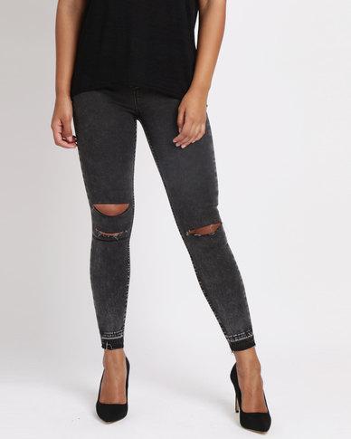 New Look Acid Wash Fray Hem Ripped Skinny Hallie Jeans Black
