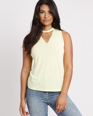 New Look Choker Neck Cut Out Tank Top Yellow