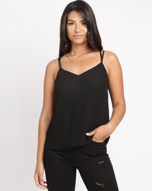 New Look Lace Back Cami Top Black