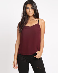 New Look Lace Back Cami Top Burgundy