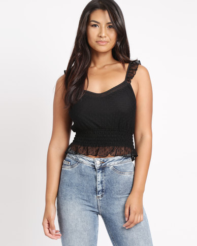 New Look Spot Mesh Frill Trim Crop Top Black