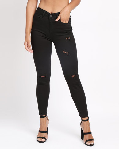 beautiful in colour new product best service New Look Ripped Knee Skinny Jenna Jeans Black