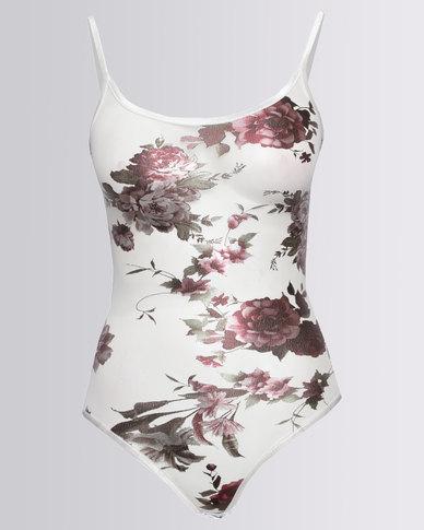 New Look Digital Floral Print Bodysuit Cream