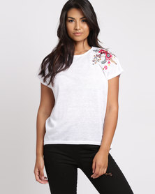 New Look Floral Embroidered Shoulder T-Shirt White