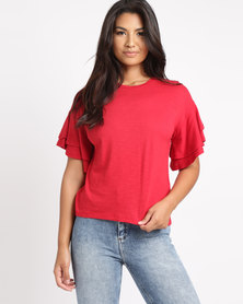 New Look Double Frill Sleeve T-Shirt Red