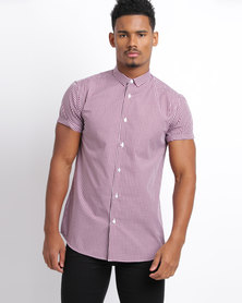 New Look Gingham Short Sleeve Shirt Red