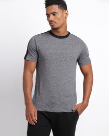 New Look Contrast Stripe Shoulder T-Shirt Grey