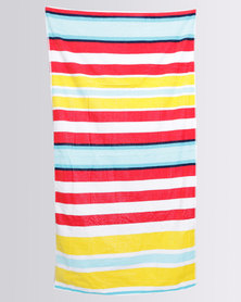 Colibri Towelling Suffolk Stripe Beach Towel Red