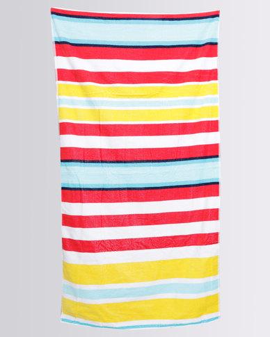 Colibri Towelling Suffolk Stripe Beach Towel Red