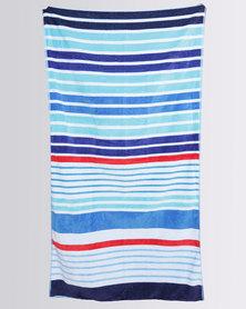 Colibri Towelling Marina Stripe Beach Towel Blue
