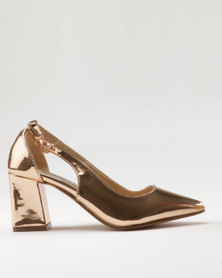 Utopia Block Pointy Court Shoe Rose Gold