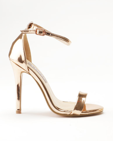20d40f91539 Sarah J x Utopia Barely There Heeled Sandals Gold