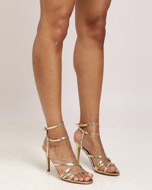 Sarah J Strappy Heeled Sandal Gold