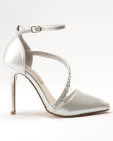 Sarah J Jewelled Court Shoes Silver