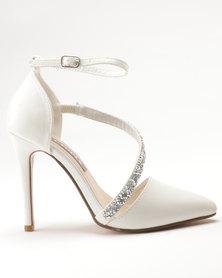 Sarah J Jewelled Court Shoes White