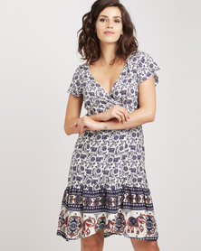 Revenge V-Neck Floral Print Dress Navy