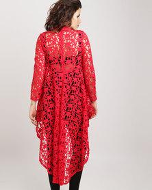 Revenge Crochet Hi-Lo Top Red