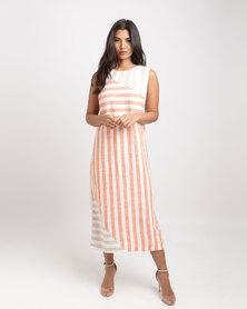 Gordon Smith Sunset Beach Spliced Stripe Linen Maxi Dress Sunset