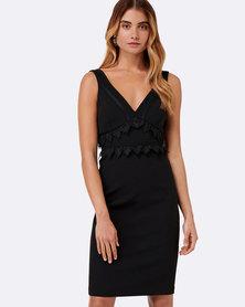 Forever New Clover Trim Insert Dress Black