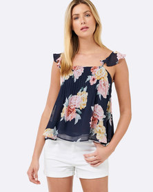Forever New Sophie Ruffle Strap Pintuck Cami Blue