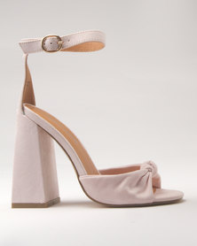 Public Desire Embrace Knotted Flared Heel Faux Suede Pink
