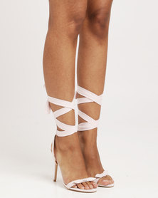 Public Desire Boulevard Bow Detail Wrap Around Barely There High Heel Pink Faux Suede