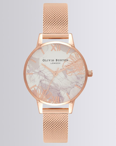 06e3172a25d4 Olivia Burton Abstract Florals Dial Mesh Watch Rose Gold-tone