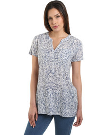 Jeep S/S Printed Cambric Blouse Blue