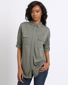 Jeep 3/4 Roll-Up Sleeve Viscose Twill Blouse Olive