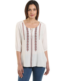 Jeep 3/4 Sleeve Embroidered Tunic Natural