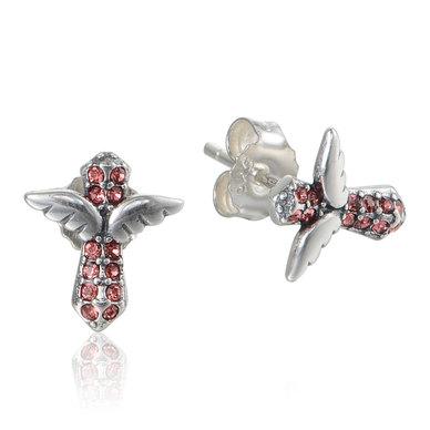 Dhia Jewellery 925 Sterling Silver Angel Wings Cross Earrings