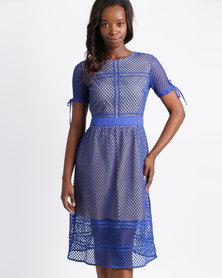 Sassoon Lace Midi Dress Cobalt