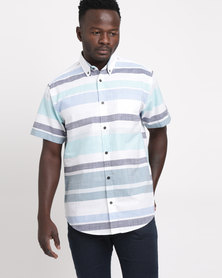 JCrew Horizontal Stripe Short Sleeve Shirt Mint & Blue